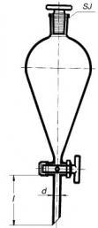 Nálevka dělicí hruškovitá, skleněný kohout